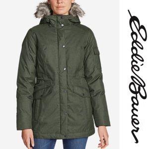 🎁Eddie Bauer green parka jacket faux fur hood
